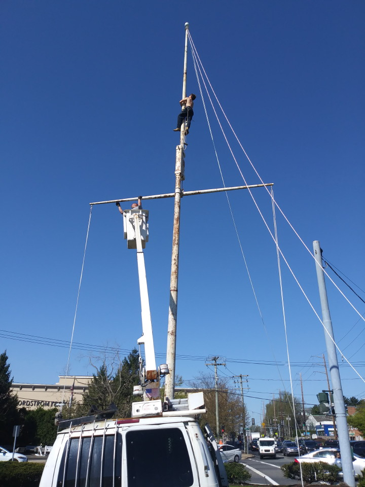 Before photo of a 60 foot flagpole
