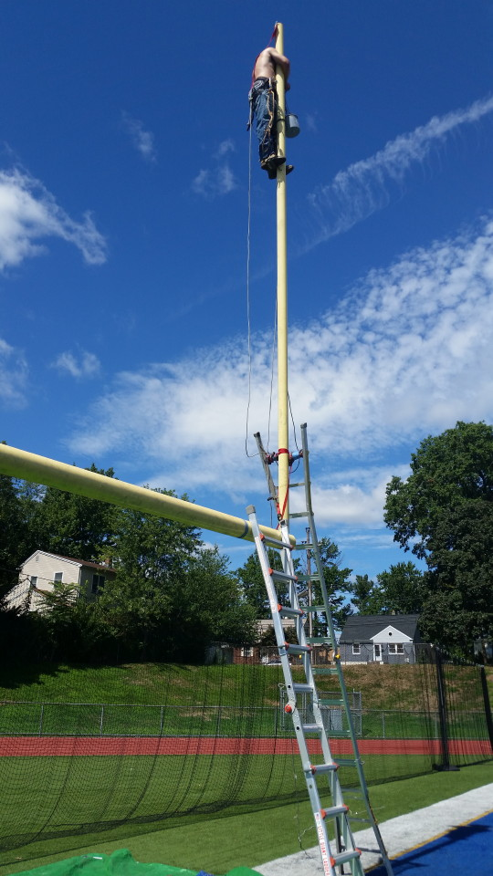 Field goal painting in progress by Mr. Flagpole Maintenance